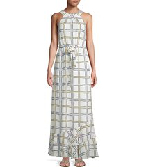 calvin klein women's self-tie grid-print maxi dress - soft white - size 2