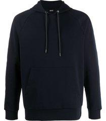 boss hugo boss raglan sleeve hoodie - blue