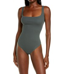 skims ribbed stretch cotton bodysuit, size x-small in deep sea at nordstrom