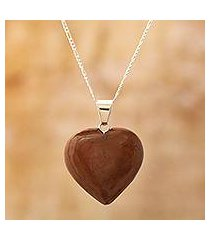 mahogany obsidian heart necklace, 'petal heart' (peru)