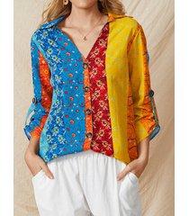 camicetta etnica a maniche lunghe con bottoni con scollo a v con stampa a righe multicolore da donna