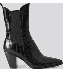 na-kd shoes elastic detail calf boots - black