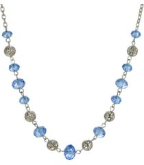 2028 women's silver tone with blue and silver beaded chain necklace