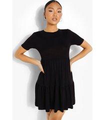petite gesmokte jurk met korte mouwen en losvallende zoom, black