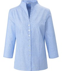 blouse van 100% katoen met kelkkraag van peter hahn blauw