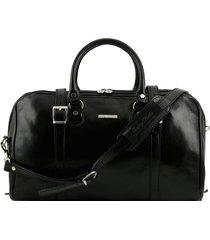 tuscany leather tl1014 berlino - borsa da viaggio in pelle con fibbie - misura piccola nero