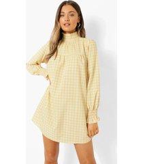 gesmokte gingham jurk met geplooide hals en mouwen, yellow