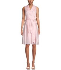 anne klein notch-collar wrap dress