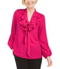 kasper petite ruffled tie-neck blouse
