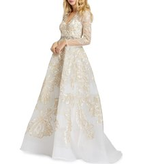 mac duggal women's floral embroidered a-line gown - ivory gold - size 4