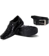 kit sapato social infantil verniz e cinto leoppé masculino - masculino