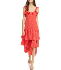 likely janie floral tiered dress, size 0 in fuchsia/orange at nordstrom