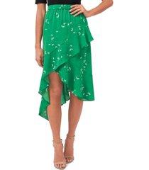 cece asymmetrical printed skirt