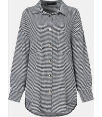 camicetta casual da donna a maniche lunghe con bottoni con stampa scozzese