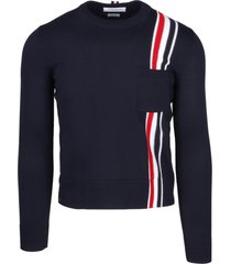 thom browne jersey stitch relaxed fit crew neck pullover