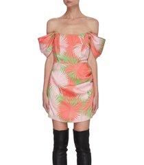 guadalupe' palm print off shoulder drape satin mini dress