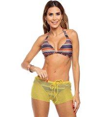 shorts de praia em tela maré brasil amarelo amarelo
