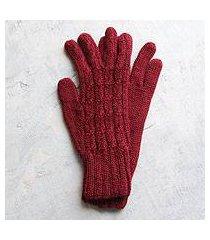 100% alpaca gloves, 'lush rose' (peru)