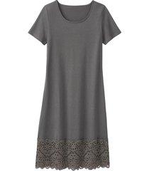jersey jurk met kant, zilvergrijs 36/38