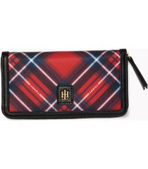 tommy hilfiger women's diamond plaid wallet red multi -