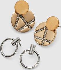 lane bryant women's convertible mixed-metal geo earrings - 2-pack onesz mixed metal