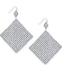 inc silver-tone crystal diamond-shape sheet drop earrings, created for macy's