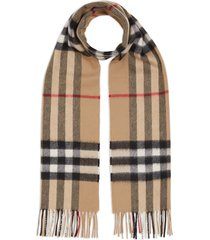 burberry cashmere classic check scarf - brown