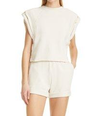 women's frame roll sleeve crop sweatshirt, size x-small - ivory