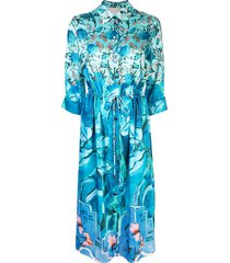 peter pilotto foliage-print dress - blue