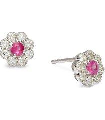 diana m jewels women's 14k white gold, ruby & 0.42 tcw diamond stud earrings