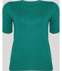 blusa de tricô feminina manga curta decote redondo verde