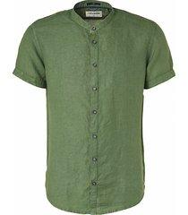 no excess 96460401 linen granddad collar short sleeve shirt 055 olive no-excess