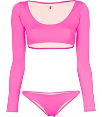 solid & striped colette long sleeved bikini - pink