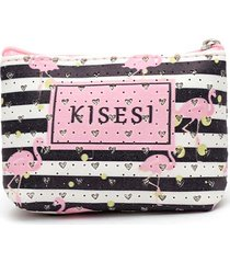 monedero estampado flamingos color negro, talla uni