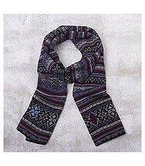 100% alpaca knit scarf, 'sierra charcoal' (peru)