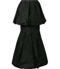vera wang draped tiered hem silk skirt - black