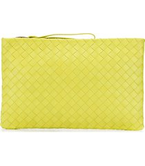 bottega veneta large intrecciato weave clutch - yellow