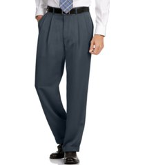 perry ellis portfolio classic fit double pleat no iron microfiber melange men's dress pants