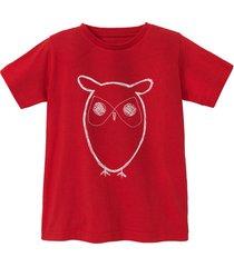 shirt met korte mouw uil van bio-katoen, rood 134/140