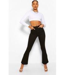 high rise stretch spijkerbroek met wijd uitlopende pijpen, zwart