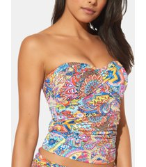 bleu by rod beattie printed twist front strapless tankini top women's swimsuit
