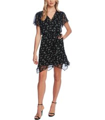 vince camuto floral-print ruffled-hem belted dress