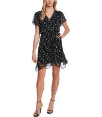 vince camuto floral-print ruffled-hem belted dress