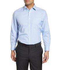 men's big & tall nordstrom men's shop smartcare(tm) traditional fit check dress shirt, size 19 - 36/37 - blue