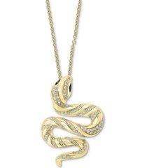 "effy white & black diamond snake 18"" pendant necklace (1/2 ct. t.w.) in 14k gold"