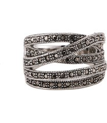 anello d'epoca in argento antico con un unico anello con micro diamanti per le donne