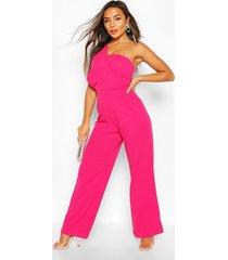 petite one shoulder drape jumpsuit, hot pink