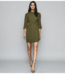 reiss cora - bell sleeve shift dress in khaki, womens, size 14