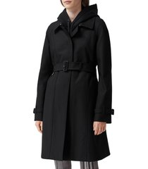 women's burberry sipson cotton gabardine belted swing coat, size 10 - black