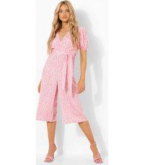 bloemen wikkel culotte jumpsuit met pofmouwen, pink